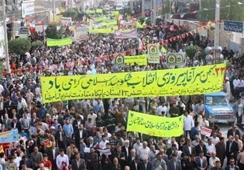 بوشهریها در راهپیمایی 22 بهمن حماسهای بینظیر خلق میکنند