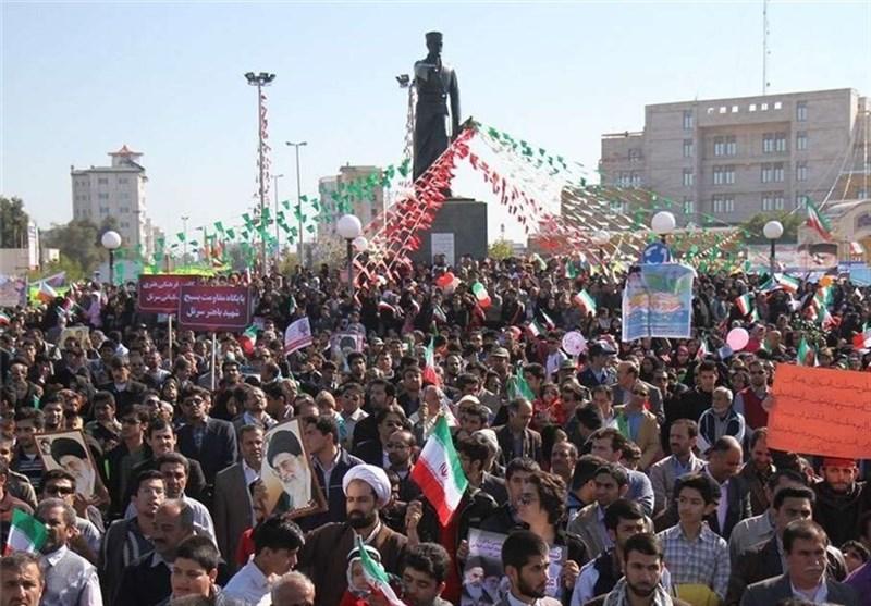 راهپیمایی 22 بهمن بوشهر با ندای «اللهاکبر» و «مرگ بر آمریکا» در بوشهر آغاز شد