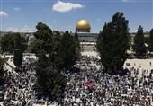 مشارکت گسترده فلسطینیان در نماز جمعه مسجدالأقصی + عکس