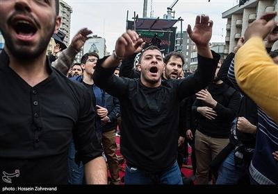 عنوان تجمع هیئت های عزاداری شهادت حضرت زهرا(س) در میدان فاطمی