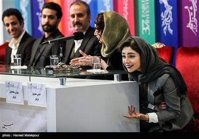 هستی مهدویفر در نشست خبری فیلم «ماجرای نیمروز، رد خون» - سیوهفتمین جشنواره فیلم فجر