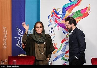 بهرام رادان و مهناز افشار بازیگران فیلم «آشفتگی» در پایان نشست خبری - سیوهفتمین جشنواره فیلم فجر
