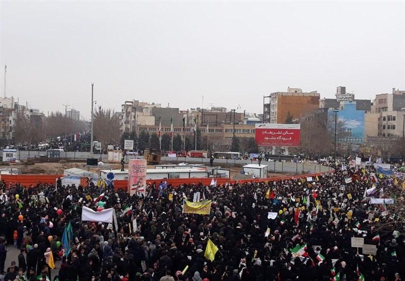 بهمن تماشایی 97| پاسخ دندانشکن مردم مشهد به تهدیدات و تحریمهای آمریکا+فیلم