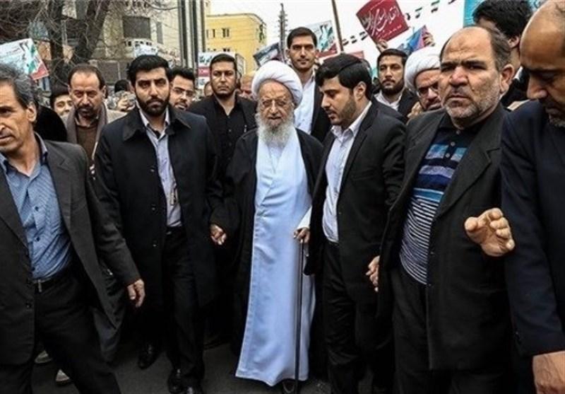 بهمن تماشایی 97| آیتالله مکارمشیرازی در راهپیمایی 22 بهمن حضور یافت
