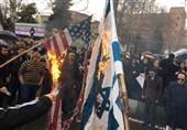 راهپیمایی 22 بهمن 97|آتش زدن پرچم آمریکا و اسرائیل در تهران + عکس