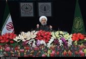 راهپیمایی 22 بهمن 97|روحانی: برای ساخت موشک از کسی اجازه نگرفته و نمیگیریم