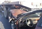 حبس راننده سمند پس از تصادف شدید با کامیون + تصاویر