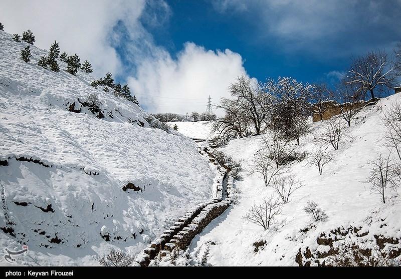 رخت سفید زمستان بر قامت آبیدر - سنندج
