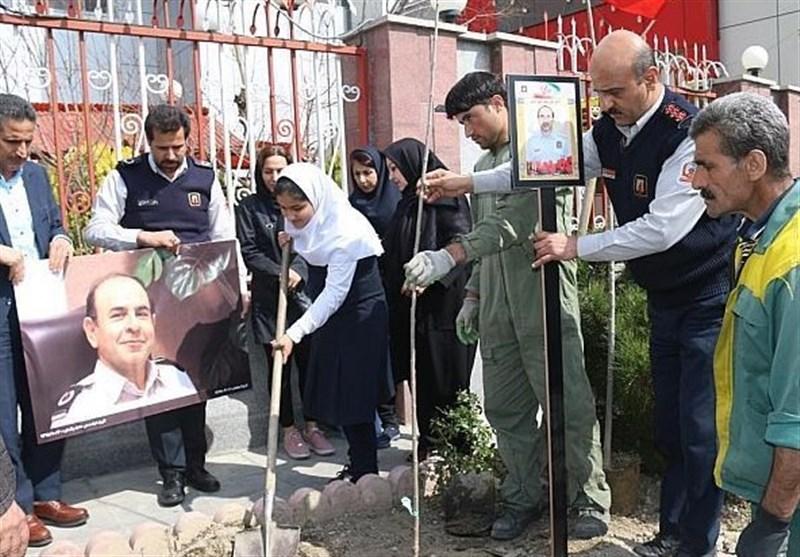 کاشت 59 نهال به یاد 59 شهید آتشنشانی تهران + تصاویر