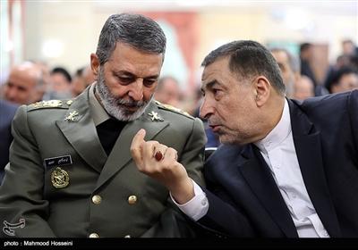 سید علیرضا آوایی وزیر دادگستری و امیر موسوی فرمانده کل ارتش در مراسم تودیع و معارفه رئیس قوه قضاییه