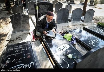 مزار شهدای مدافع حرم تیپ فاطمیون در آخرین پنجشنبه سال - بهشت زهرا(س)