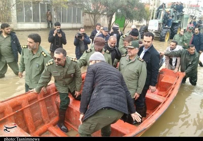سردار جعفری در گمیشان: تخلیه آب اولویت اصلی سپاه در مناطق سیلزده است