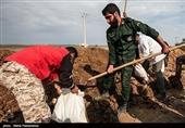 احداث سیل بند 700 متری در منطقه بردسکن توسط سپاه