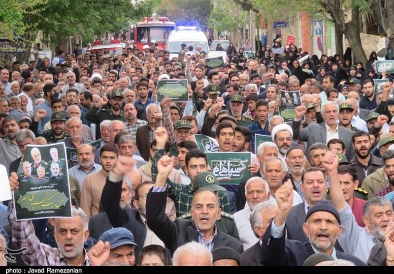 مردم استان مرکزی در حمایت از بیانیه شورای عالی امنیت ملی راهپیمایی میکنند