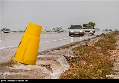 سیلاب در جاده اهواز -آبادان