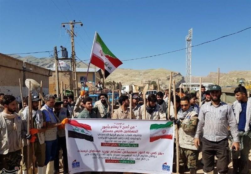 جهاد عاشقانه نیروهای مردمی عراق در شهر سیلزده پلدختر+ تصاویر