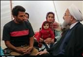 رئیس جمهور در چادر مردم سیلزده پلدختر+ تصاویر