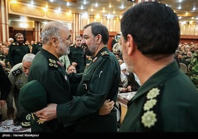 سرلشکر محسن رضایی و سرلشکر حسین سلامی فرمانده کل سپاه