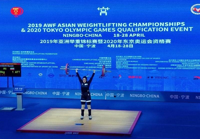 وزنهبرداری زنان آسیا| عنوان نهمی مرضیه قنبری در دسته 76 کیلوگرم
