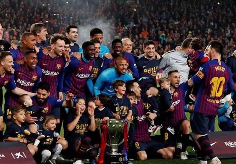برشلونة یحرز لقب الدوری الإسبانی لکرة القدم+صور