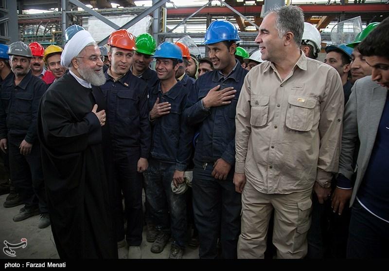 حضور حجت الاسلام حسن روحانی رئیس جمهور در کارخانه ذوب آهن بیستون کرمانشاه