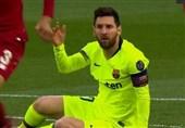 فوتبال جهان| بارسلونا بدون لیونل مسی آنفیلد را ترک کرد