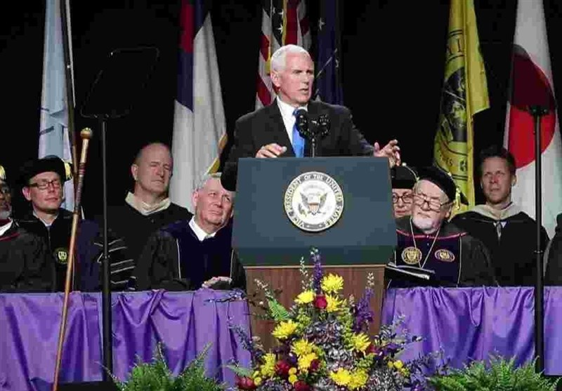 Protests as US Vice President Pence Gives Commencement Speech at Taylor University