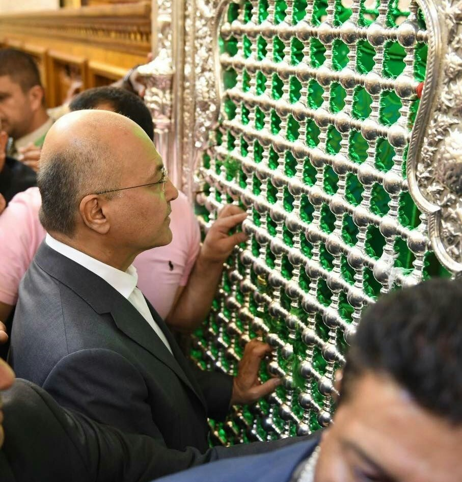 برھم صالح کی حرم مطہر امام موسی کاظم اور امام جواد علیہما السلام پر حاضری+ تصاویر