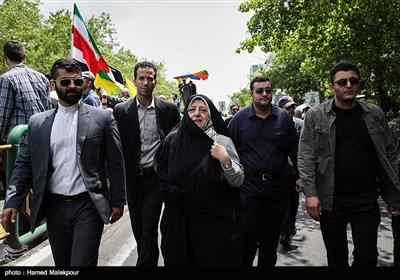 حضور معصومه ابتکار معاون امور زنان و خانواده رئیس جمهور در راهپیمایی روز جهانی قدس - تهران