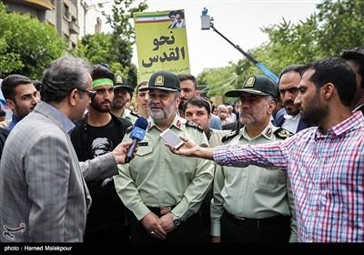 حضور سردار حسین اشتری فرمانده نیروی انتظامی در راهپیمایی روز جهانی قدس - تهران