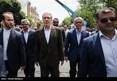 حضور علیاصغر مونسان رئیس سازمان میراث فرهنگی و گردشگری در راهپیمایی روز جهانی قدس - تهران