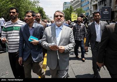 حضور عبدالرضا رحمانی فضلی وزیر کشور در راهپیمایی روز جهانی قدس - تهران