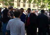 تجمع آعتراض آمیز مردم باکو مقابل سفارت رژیم صهیونیستی
