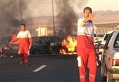 تصادف شدید و آتشسوزی در آزاد راه تهران-قم