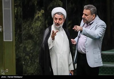 حشمتالله فلاحتپیشه و حجتالاسلام مجتبی ذوالنور در جلسه علنی مجلس شورای اسلامی