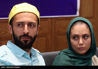 شادی مختاری و حسام محمودی در نشست خبری عوامل سریال دل دار