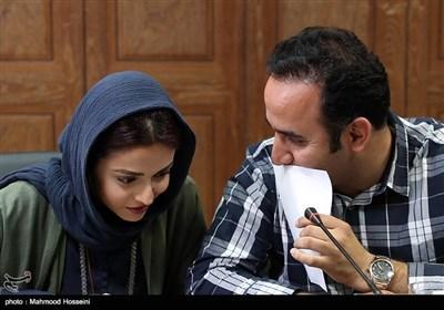 نوید محمودی و سوگل خلیق در نشست خبری عوامل سریال دل دار