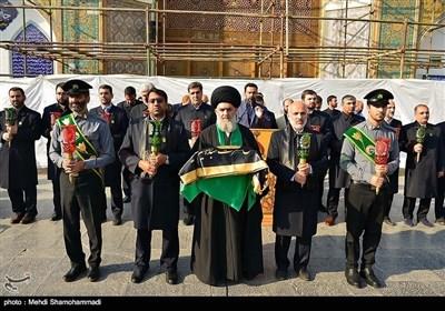 روضہ عبدالعظیم حسنی کےگنبد پر پرچم کی تبدیلی کے مراسم