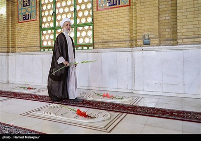 حضور حجتالاسلام کاظم صدیقی بر سر مزار شهدای 72 تن