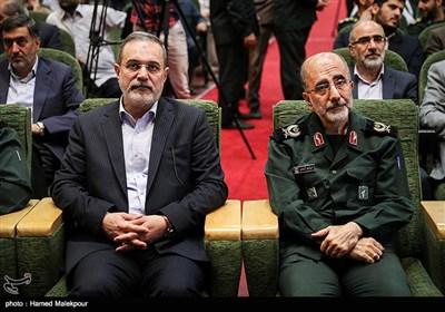 سردار عبدالرضا آزادی و سیدمحمد بطحایی در مراسم تودیع و معارفه رئیس سازمان بسیج مستضعفین