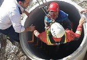 تهران  سقوط 10 متری کارگر میانسال به داخل چاه + تصاویر