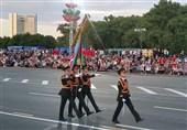 شرکت نظامیان جمهوری آذربایجان در مراسم رژه نظامی در بلاروس