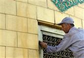 شست و شوی گنبد مطهر حضرت رضا(ع)+تصاویر