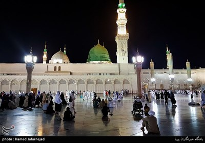Muslims at Masjid Al-Nabawi during Hajj Rituals