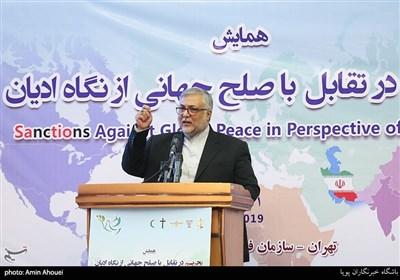 ابوذر ابراهیمی ترکمان رئیس سازمان فرهنگ و ارتباطات اسلامی در همایش تحریم در تقابل با صلح جهانی از نگاه ادیان