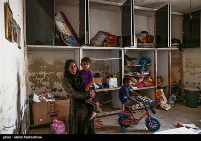 """روستای """"حمدان سلجه"""" یکی از روستاهای مسیر خسرج در حمیدیه، است که در سیل اخیر دچار آبگرفتگی شد"""