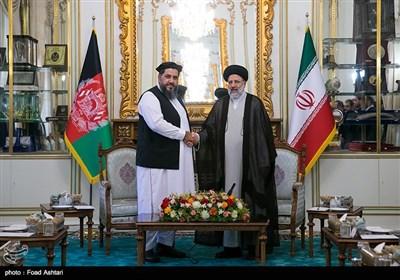 حجت الاسلام سید ابراهیم رئیسی رئیس قوه قضائیه و فضل هادی مسلم یار رئیس مجلس سنای افغانستان