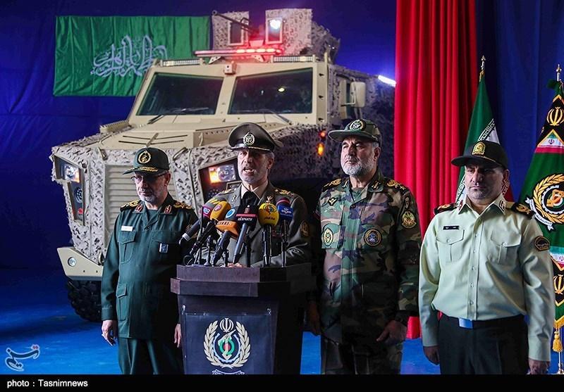 سخنرانی امیر سرتیپ حاتمی وزیر دفاع در آئین رونمائی از خودرو زرهی ضد مین و ضدکمین «رعد»
