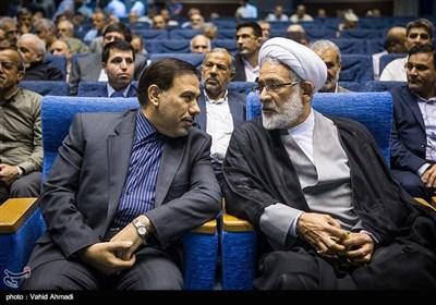 حجت الاسلام محمدجعفر منتظری و اصغر جهانگیر رئیس سازمان زندان ها در سالگرد شهادت اسدالله لاجوردی