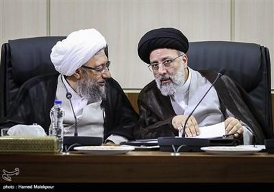 حجتالاسلام سیدابراهیم رئیسی رئیس قوه قضاییه و آیتالله صادق آملی لاریجانی رئیس مجمع تشخیص مصلحت نظام